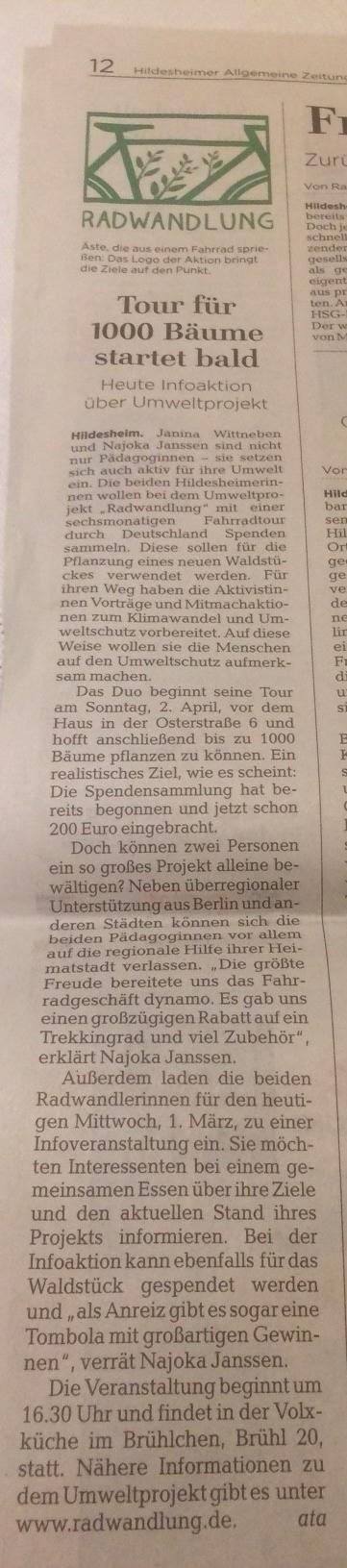 aus der Hildesheimer Allgemeinen Zeitung vom 1. März 2017