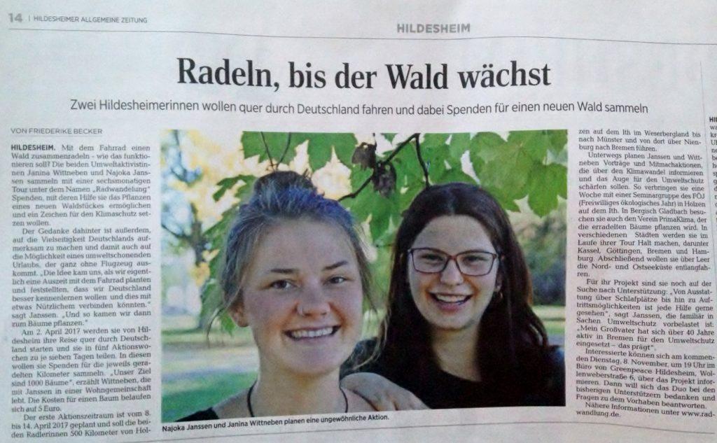 aus der Hildesheimer Allgemeinen Zeitung vom 4. November 2016